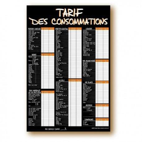 PANNEAU TARIFS DES CONSOMATIONS